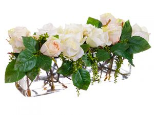 "9""H x 9""W x 19""L Rose/Berry inGlass VaseWhite Green"