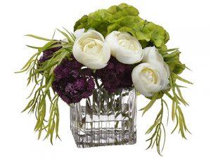 "8""H x 8""W x 9""LHydrangea/Sedum/Ranunculus inGlass Vase White Eggplant"