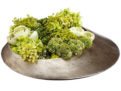 """6""""H x 18""""W x 19""""L Hydrangea/Ranunculus/Sedum in MetalVase Green Lime"""