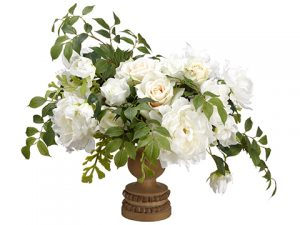 "19"" Rose/Peony/Miller Fern in Footed Plate White"