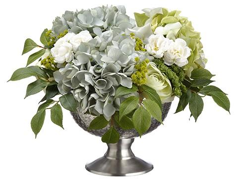 """12""""H x 17""""W x 17""""LHyrdangea/Ranunculus/Sedum inAluminum Bowl Blue Green"""
