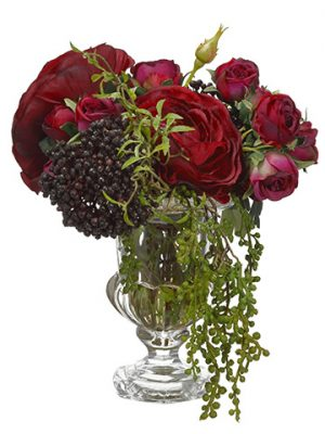 "11""H x 8""W x 13""L Rose/Ranunculus in Glass Vase Burgundy"