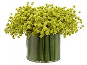 "7.5""H x 10""W x 11""L Baby'sBreath/Grass in Glass VaseGreen"