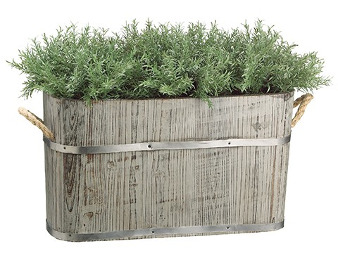 "15""H x 13""W x 24""L Rosemary in Wood Planter Green"