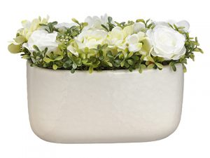 "7""H x 6""W x 12""L Rose/Hydrangea in Container Cream Green"