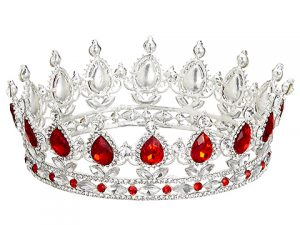 """5.9"""" Rhinestone Crown (1ea/PVC box)Red"""
