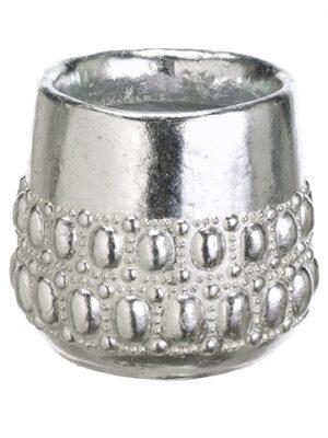 "6""H x 6.6""D Cement Pot Silver"