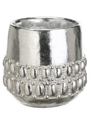 "7.5""H x 7""D Cement Pot Silver"