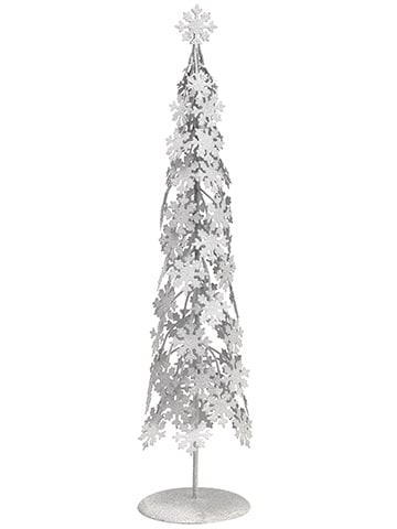 "23"" Glittered Snowflake Cone Topiary Table Top White"