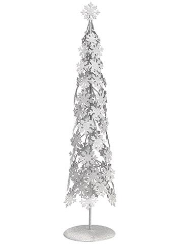 "23"" Glittered Snowflake ConeTopiary Table TopWhite"
