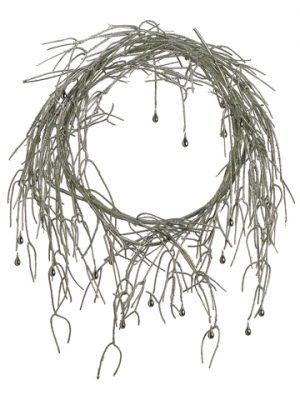 """24"""" Glittered Pencil CactusWreath w/Teardrop BeadSilver"""