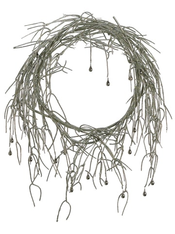 "24"" Glittered Pencil Cactus Wreath w/Teardrop Bead Silver"