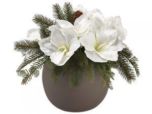 """13.5"""" Amaryllis/Pine/PineCone Arrangement in TaupeCeramic Vase White Green"""