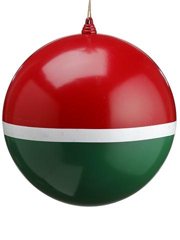 """12"""" Matte Ball Ornament Red Green"""