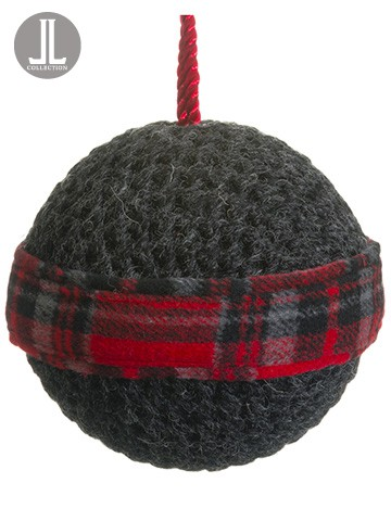 "4.75"" Knit/Plaid Ball Ornament Gray Red"