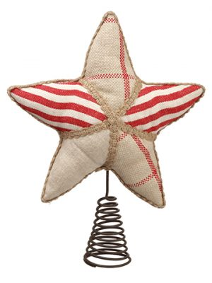 "9"" Linen Star Tree Topper Red Beige"
