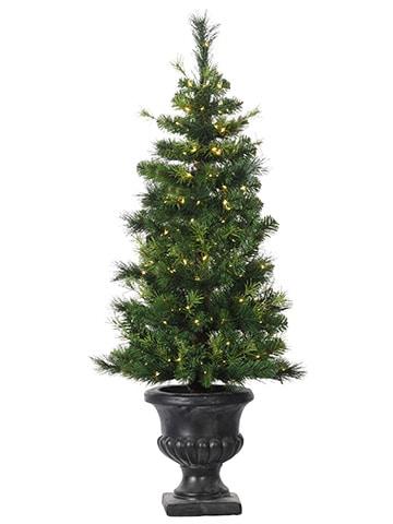 "4'Hx20""D Mixed Pine Entry WayTree x221 w/200 Rice Lightsin Urn Green"