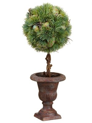 "17.5"" Pine Topiary in Paper Mache Urn Green"