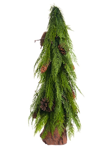 """28"""" Pine Cone/Pine Topiary inPoly Resin PotGreen"""
