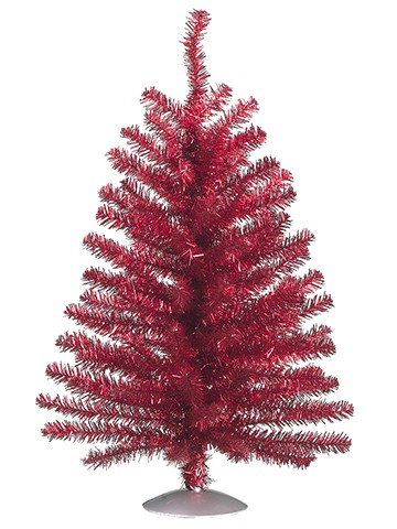"""12"""" Tinsel Table Top Tree x95 Red"""