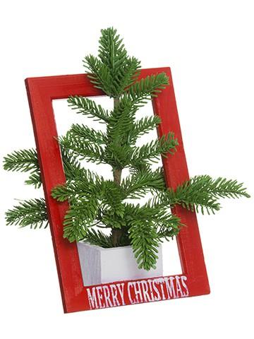 """13"""" Pine Arrangement in WoodPotGreen Red"""