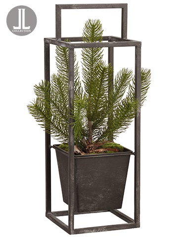 "18.5"" Colorado Pine Tree in Metal Planter Green"