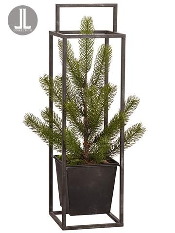 "24.5"" Colorado Pine Tree inMetal PlanterGreen"