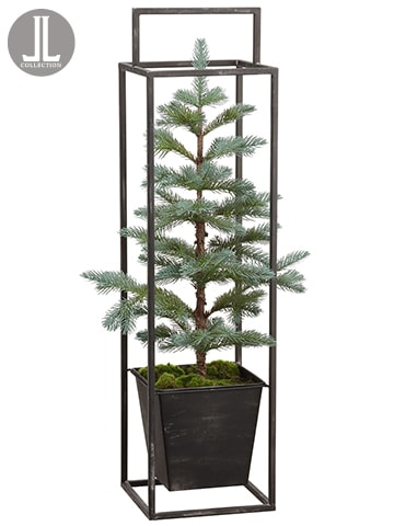 "29.5"" Pine Tree in Metal Planter Green Gray"