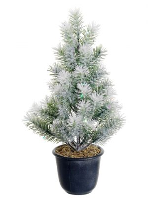 "15"" Laser Flocked Angel Pine Tree x55 in Plastic Pot Green Snow"