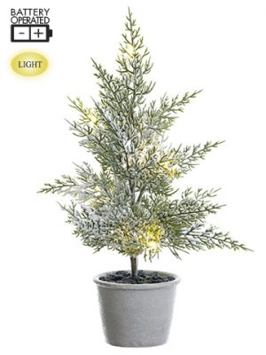 "19.5"" Battery Operated Snowed Pine Tree in Paper Mache Pot With Light Green Snow"