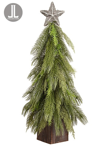 """34"""" Pine Topiary With Star inPotGreen"""