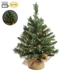 "18""x12""D Battery Operated Pine Tree x61 in Burlap with 35 LED Warm White Light with Timer Na"