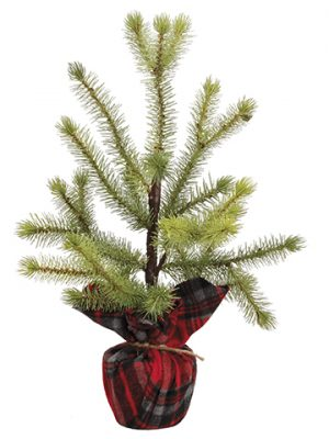 "16.5"" Pine Tree in Plaid Bag Green"