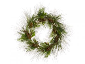 "36"" Mixed Pine Wreath w/Pine Cone And Berry Green Brown"
