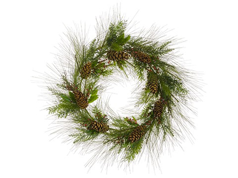 """36"""" Mixed Pine Wreath w/PineCone And BerryGreen Brown"""