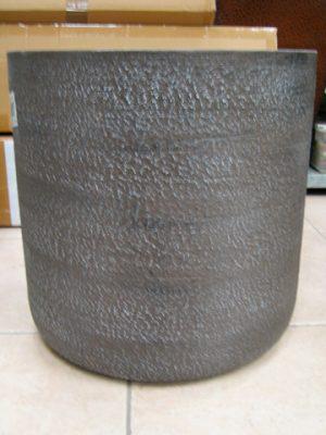 "16""W Fiber Stone Planter Black Brown"