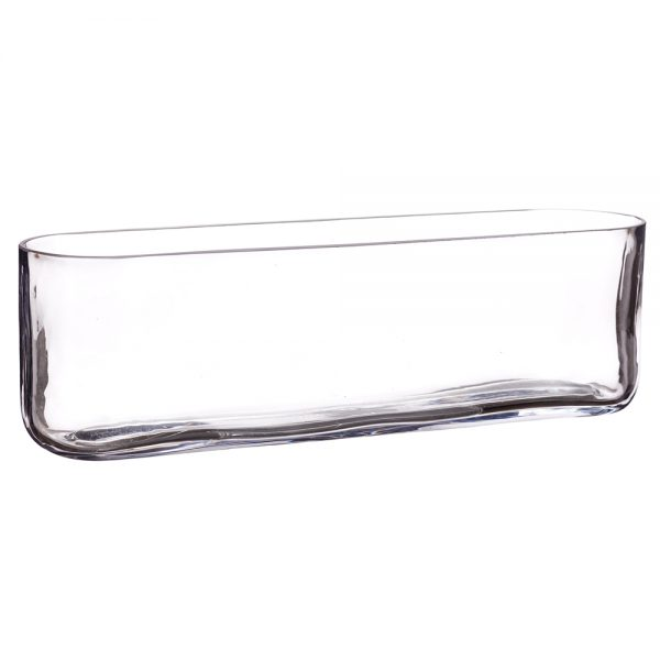 """13.5""""Lx3.5""""W x 4""""H Oval Vase Clear"""