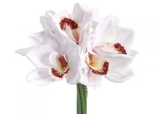 "12"" Real Touch Cymbidium Orchid Bouquet White"