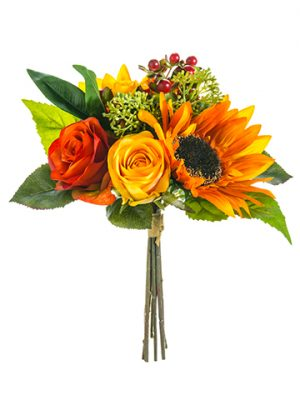 "12"" Sunflower/Rose Bouquet Rust Orange"