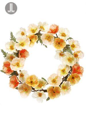 """20"""" Poppy Wreath Mixed"""