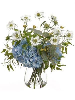 "24"" Hydrangea/Scabiosa/Eucalyptus in Glass VaseWhite Blue"