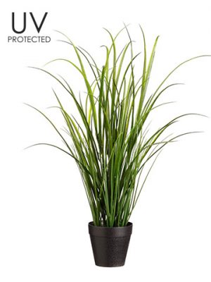 "24"" UV Protected Tall Grass in Pot Green"