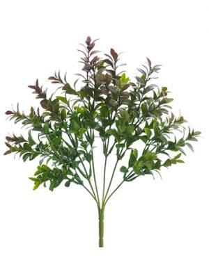 "13"" Plastic Boxwood Bush Green Burgundy"
