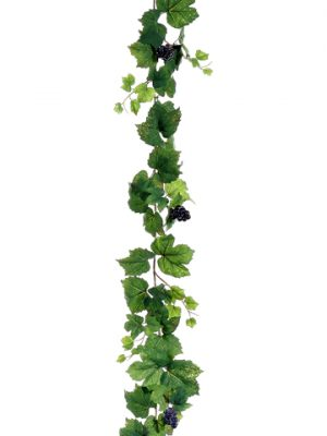 6' All Season Grape Leaf Garland with Grape Two Tone Green