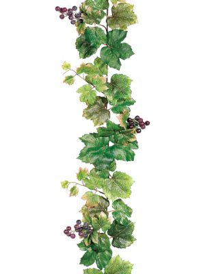 6' Grape Leaf Garland with Grapes Green