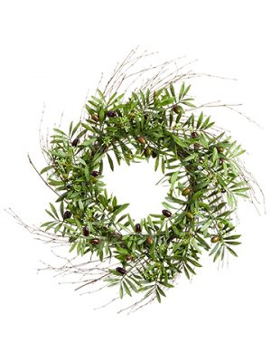 "24"" Olive Wreath Purple Green"