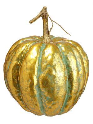 """7""""H x 5.5""""D Pumpkin Teal Gold"""