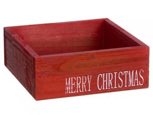 "3""H x 8""W x 8""L Merry Christmas Wood Box Red White"