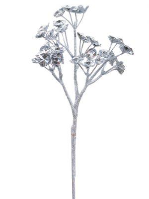 """13"""" Jewel Flower Spray Silver"""
