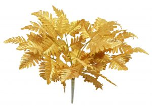 "12"" long leather fern Gold"